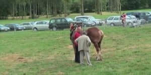 Kötélhúzás: 18 férfi és egy ló